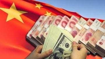 китайский флаг доллары деньги